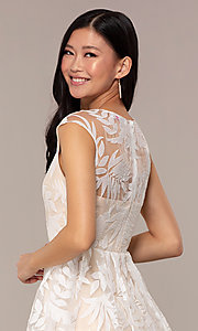 Image of sheer-back short graduation dress with embroidery.  Style: MT-9924 Detail Image 6