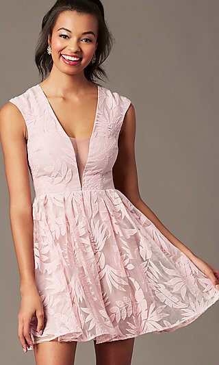 Sheer-Back Short Graduation Dress with Embroidery