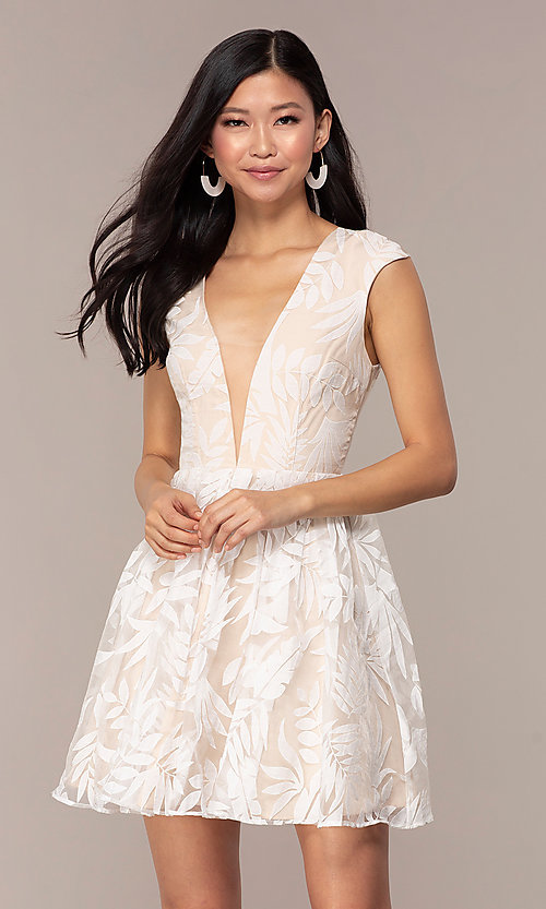 Image of sheer-back short graduation dress with embroidery.  Style: MT-9924 Detail Image 3
