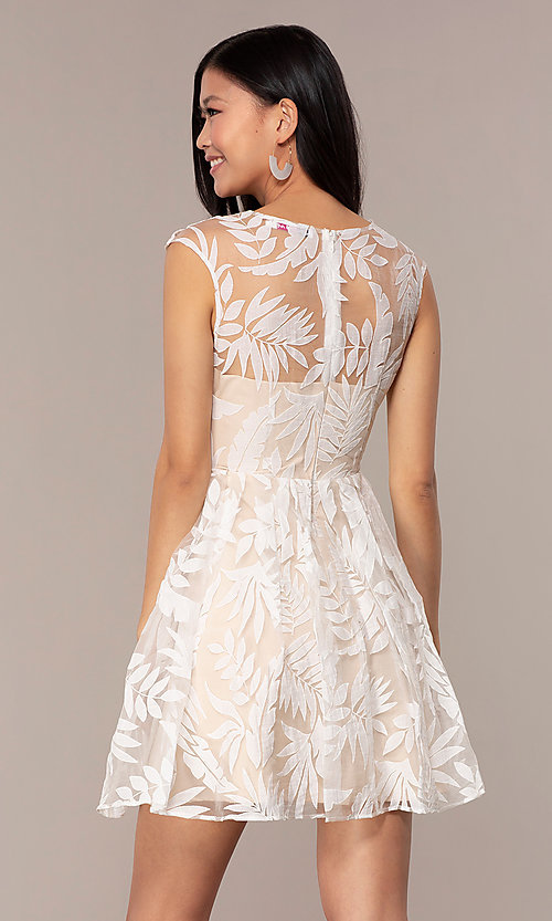 Image of sheer-back short graduation dress with embroidery.  Style: MT-9924 Detail Image 4
