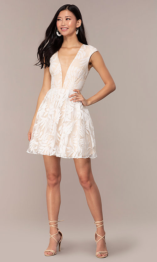 Image of sheer-back short graduation dress with embroidery.  Style: MT-9924 Detail Image 7
