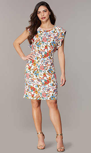 40491f23b1a Floral-Embroidered Short Scoop-Neck Party Dress