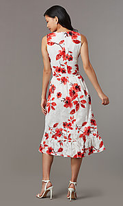Image of floral-print midi sleeveless party dress in lace. Style: ECI-720237-75850 Back Image