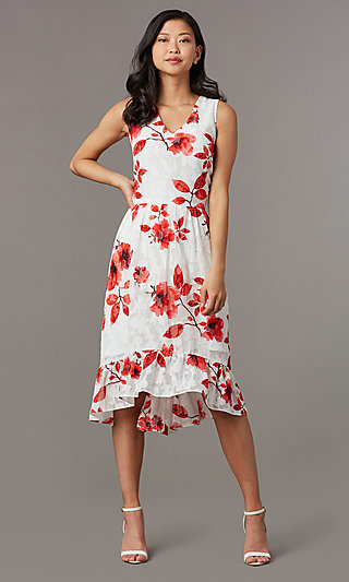 Floral-Print Midi Sleeveless Party Dress in Lace