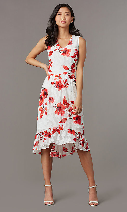 Image of floral-print midi sleeveless party dress in lace. Style: ECI-720237-75850 Front Image