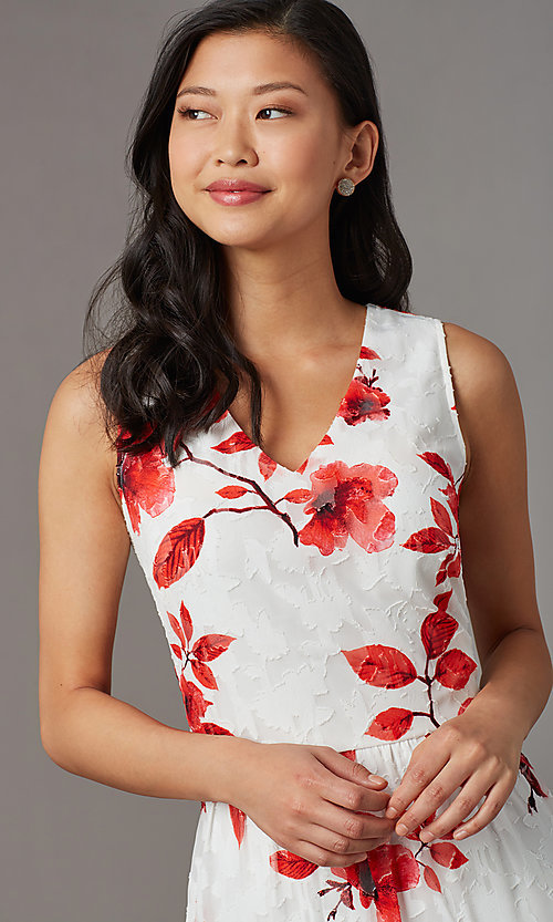 Image of floral-print midi sleeveless party dress in lace. Style: ECI-720237-75850 Detail Image 1