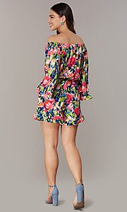 Image of off-the-shoulder long-sleeve print romper. Style: ECI-720569-75946A Back Image
