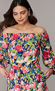 Image of off-the-shoulder long-sleeve print romper. Style: ECI-720569-75946A Detail Image 2