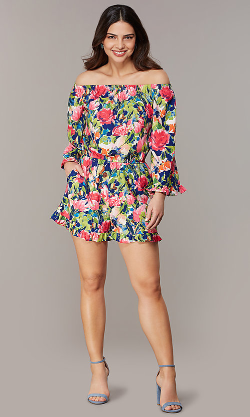 Image of off-the-shoulder long-sleeve print romper. Style: ECI-720569-75946A Front Image
