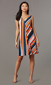 Image of short v-neck striped shift party dress. Style: ECI-719095-76019A Front Image