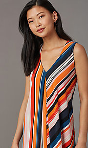 Image of short v-neck striped shift party dress. Style: ECI-719095-76019A Detail Image 1