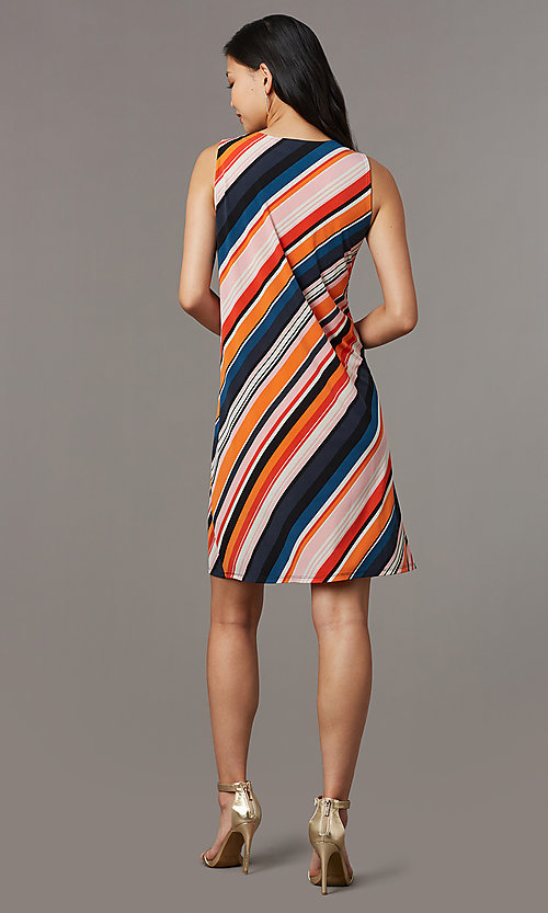 Image of short v-neck striped shift party dress. Style: ECI-719095-76019A Back Image
