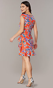 Image of floral-print short red wedding-guest party dress. Style: ECI-720463-75970A Detail Image 3