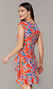 Image of floral-print short red wedding-guest party dress. Style: ECI-720463-75970A Back Image