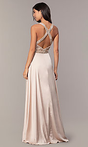 Image of long faux-wrap formal prom dress with beading. Style: DQ-2527 Detail Image 5