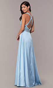 Image of long faux-wrap formal prom dress with beading. Style: DQ-2527 Back Image