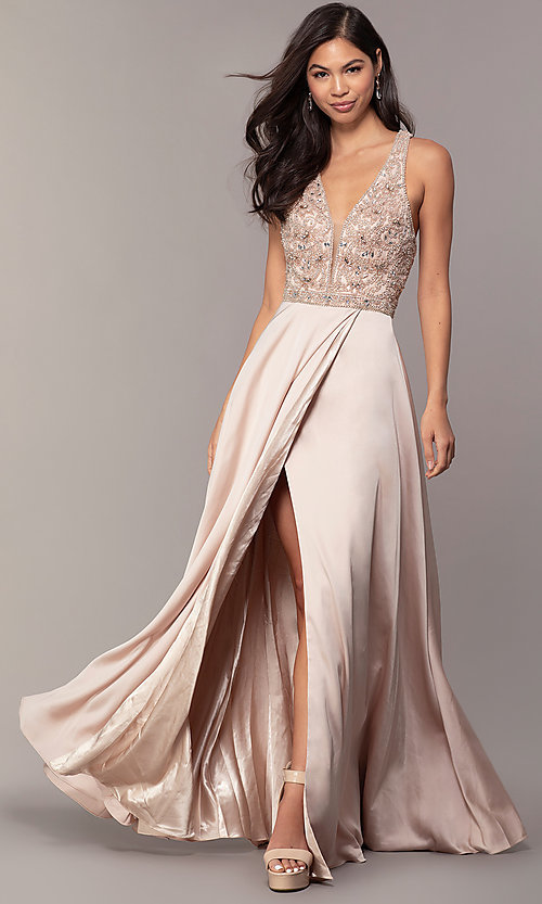 Image of long faux-wrap formal prom dress with beading. Style: DQ-2527 Front Image