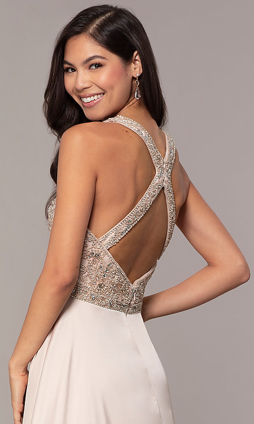 Image of long faux-wrap formal prom dress with beading. Style: DQ-2527 Detail Image 2