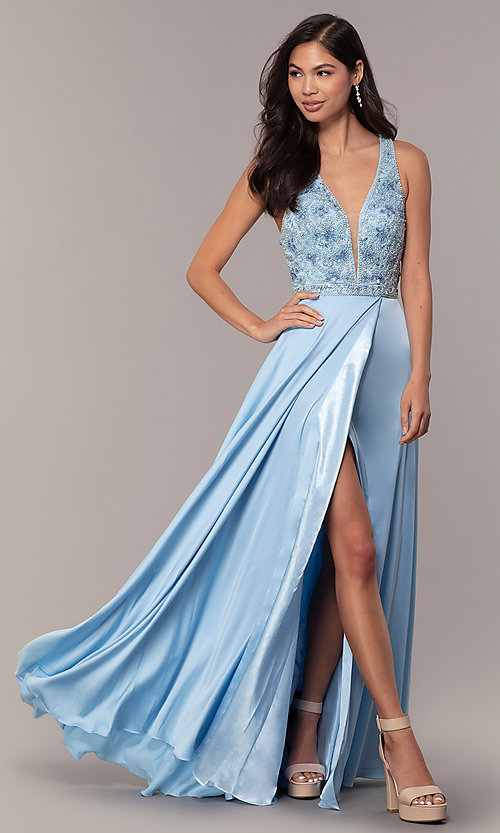 Image of long faux-wrap formal prom dress with beading. Style: DQ-2527 Detail Image 3