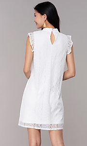 Image of white high-neck lace short shift graduation dress. Style: AS-A8290D4B02 Back Image