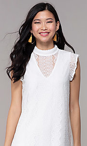 Image of white high-neck lace short shift graduation dress. Style: AS-A8290D4B02 Detail Image 1