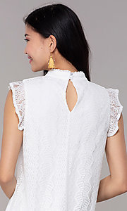 Image of white high-neck lace short shift graduation dress. Style: AS-A8290D4B02 Detail Image 2