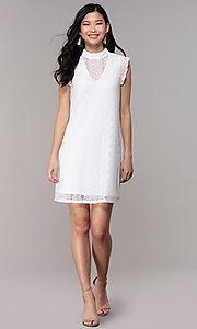 Image of white high-neck lace short shift graduation dress. Style: AS-A8290D4B02 Detail Image 3