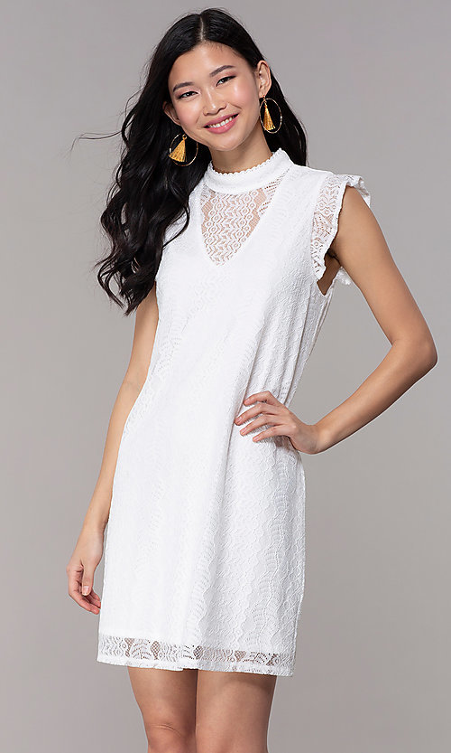Image of white high-neck lace short shift graduation dress. Style: AS-A8290D4B02 Front Image