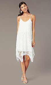 Image of white lace short corset-back graduation dress. Style: AS-D7327 Front Image