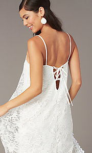 Image of white lace short corset-back graduation dress. Style: AS-D7327 Detail Image 1