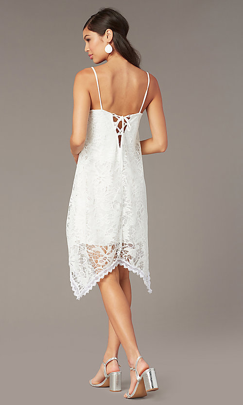 Image of white lace short corset-back graduation dress. Style: AS-D7327 Back Image