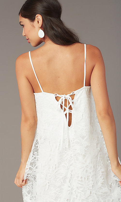 Image of white lace short corset-back graduation dress. Style: AS-D7327 Detail Image 2