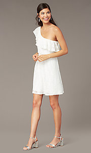 Image of ivory lace short one-shoulder graduation dress. Style: AS-I4937J56B16 Front Image