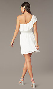 Image of ivory lace short one-shoulder graduation dress. Style: AS-I4937J56B16 Back Image