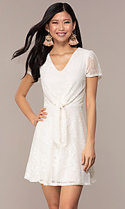 Image of lace v-neck short party dress in ivory white. Style: AS-A14574I26 Front Image