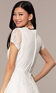 Image of lace v-neck short party dress in ivory white. Style: AS-A14574I26 Detail Image 2