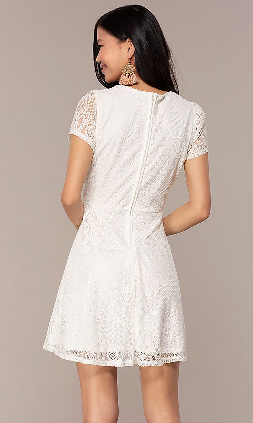 Image of lace v-neck short party dress in ivory white. Style: AS-A14574I26 Back Image