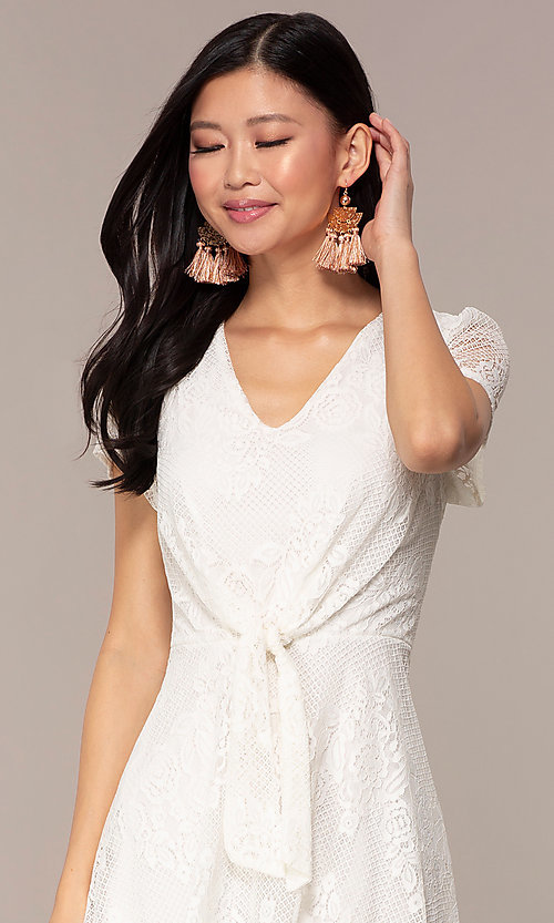 Image of lace v-neck short party dress in ivory white. Style: AS-A14574I26 Detail Image 1