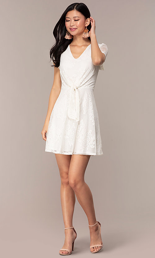 Image of lace v-neck short party dress in ivory white. Style: AS-A14574I26 Detail Image 3