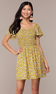 Image of yellow short-sleeve floral-print party dress. Style: AS-A162845D97 Front Image