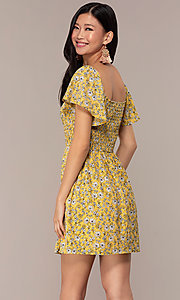 Image of yellow short-sleeve floral-print party dress. Style: AS-A162845D97 Back Image