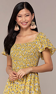 Image of yellow short-sleeve floral-print party dress. Style: AS-A162845D97 Detail Image 1