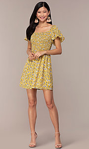 Image of yellow short-sleeve floral-print party dress. Style: AS-A162845D97 Detail Image 3