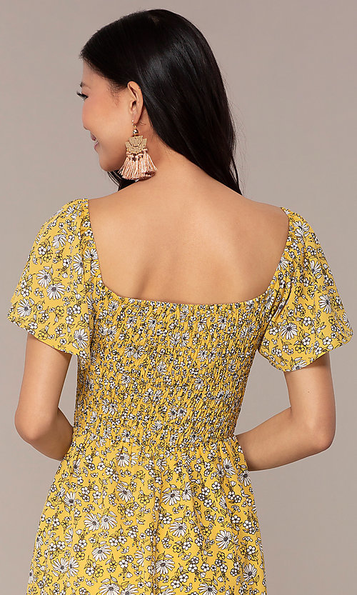 Image of yellow short-sleeve floral-print party dress. Style: AS-A162845D97 Detail Image 2