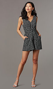 Image of print v-neck sleeveless party romper with pockets. Style: AS-A167545E25 Front Image