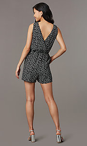 Image of print v-neck sleeveless party romper with pockets. Style: AS-A167545E25 Back Image