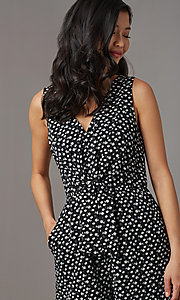 Image of print v-neck sleeveless party romper with pockets. Style: AS-A167545E25 Detail Image 1