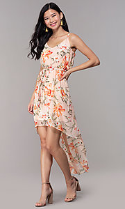 Image of floral-print high-low v-neck wedding-guest dress. Style: AS-A146395G15 Front Image