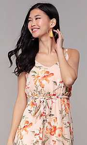 Image of floral-print high-low v-neck wedding-guest dress. Style: AS-A146395G15 Detail Image 1