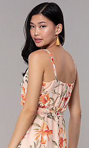 Image of floral-print high-low v-neck wedding-guest dress. Style: AS-A146395G15 Detail Image 2